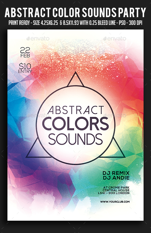 Abstract Color Sounds Party Flyer - Clubs & Parties Events