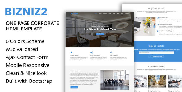 Bizniz2 – One Page Mutlipurpose Html5 Template