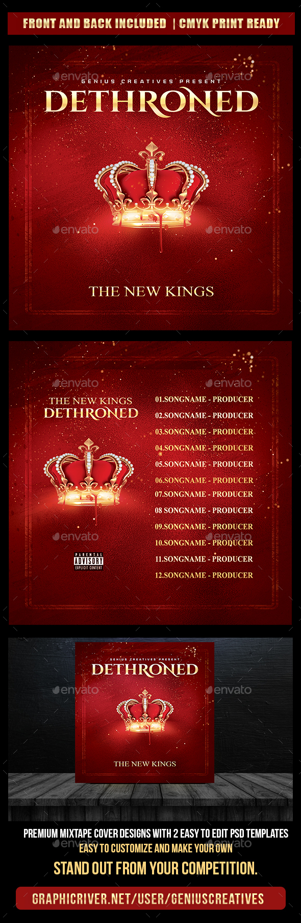 Dethroned Mixtape Cover Template - CD & DVD Artwork Print Templates