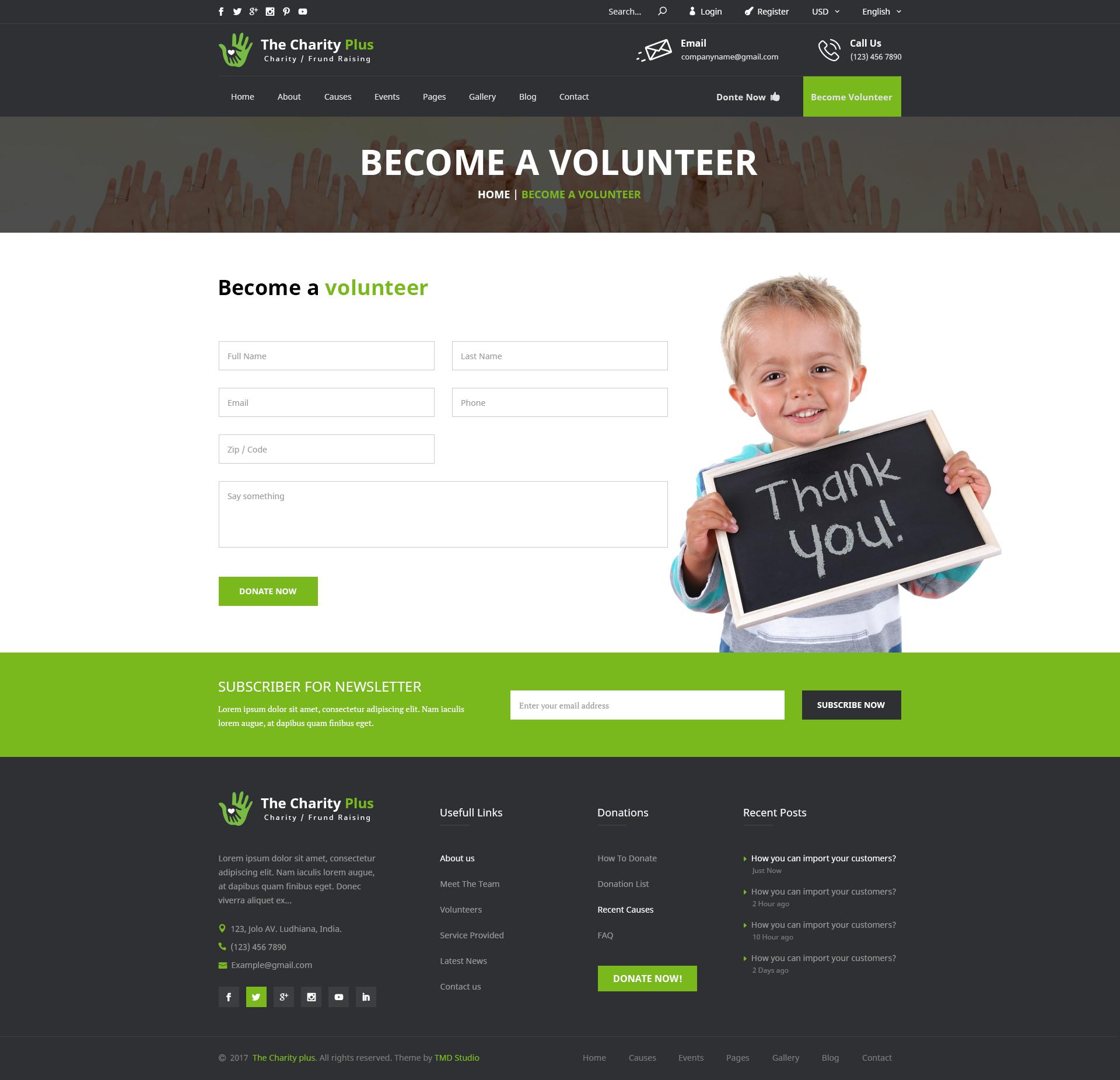charity non profit organization psd template