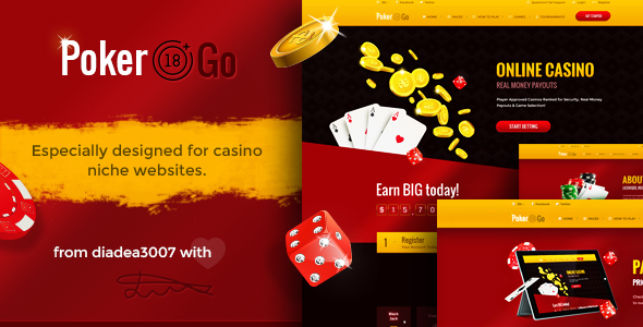 Poker Go - Casino & Gambling Online PSD Template - Creative PSD Templates