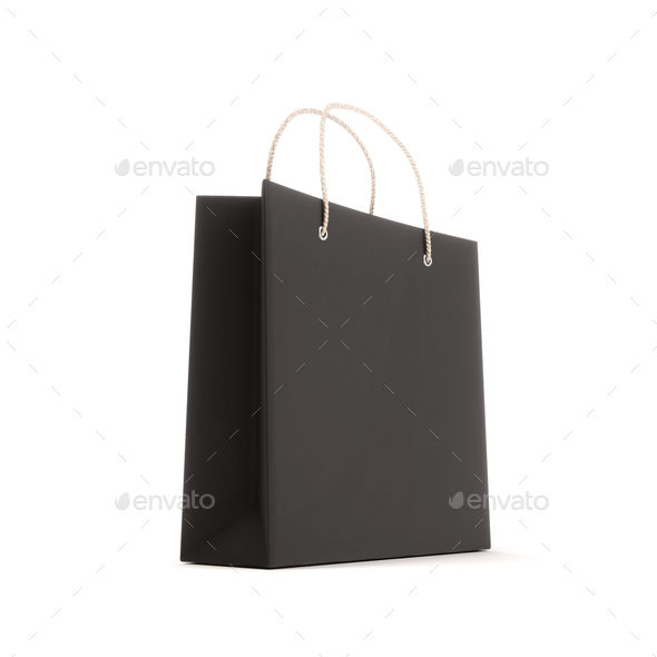 Package for purchases the black isolated on a white background - Stock Photo - Images