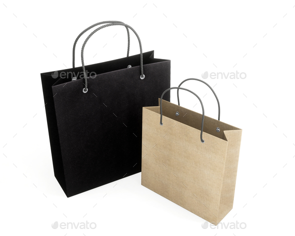 Two paper bag for purchases. 3d rendering. - Stock Photo - Images