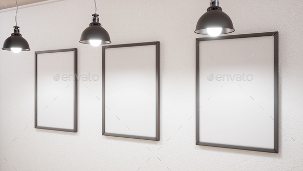 Mock up Studio and three picture on wall. 3d rendering. - Stock Photo - Images