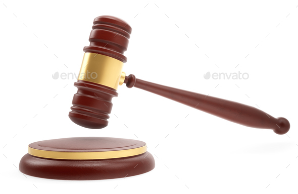 Judge mallet over white background. 3d rendering. - Stock Photo - Images