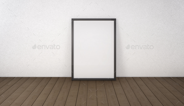 Poster with black frame mockup standing on the floor. 3d renderi - Stock Photo - Images