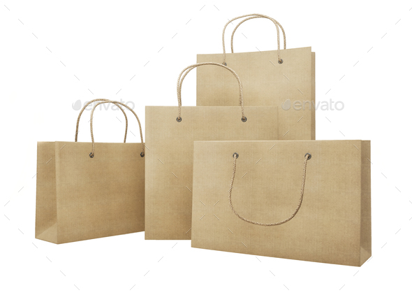 Mockup set of cardboard packages for purchases of different size - Stock Photo - Images