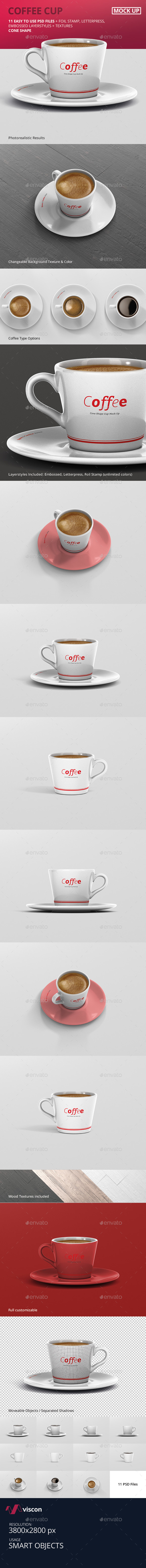 Coffee Cup Mockup - Cone Shape - Logo Product Mock-Ups