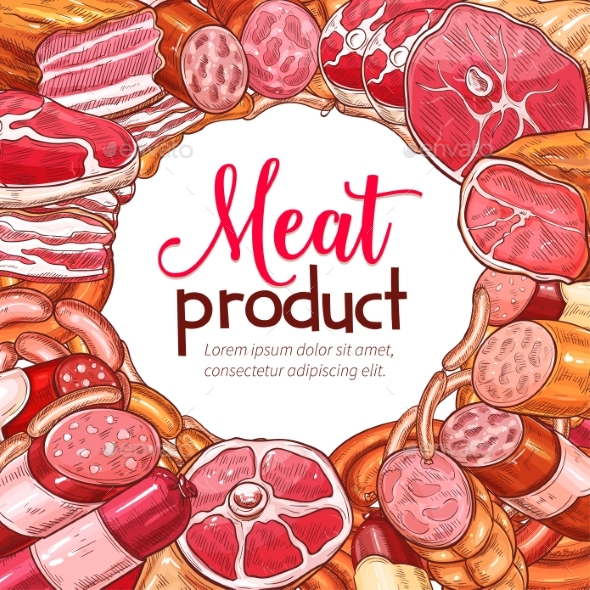 Meat Product and Sausage Sketch Poster - Food Objects