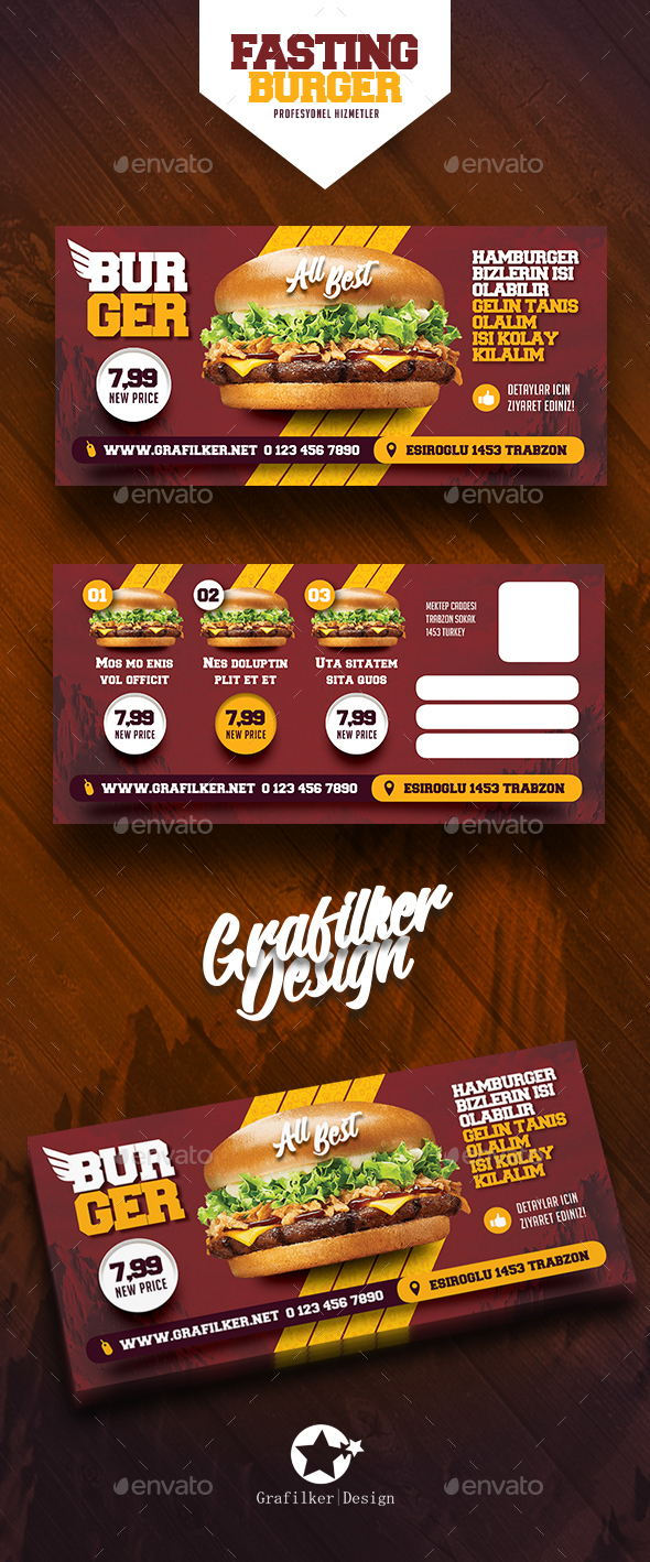Fast Food Burger Postcard Templates - Signage Print Templates