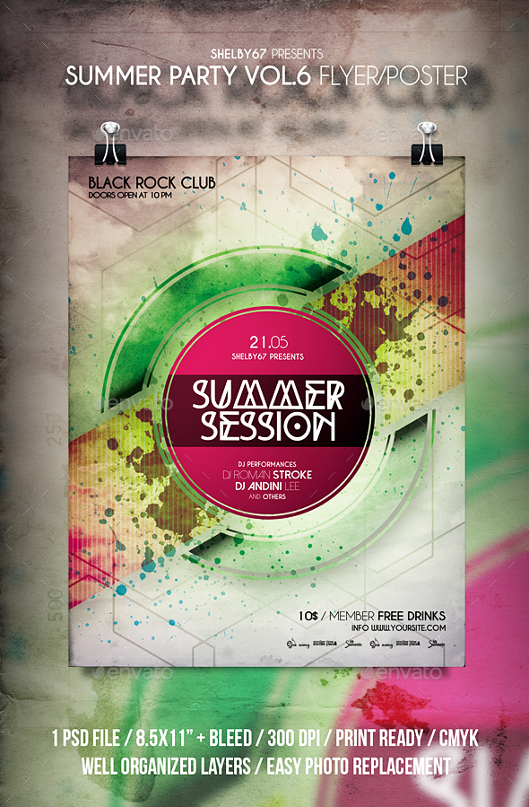 Summer Party Flyer / Poster Vol 6 - Clubs & Parties Events