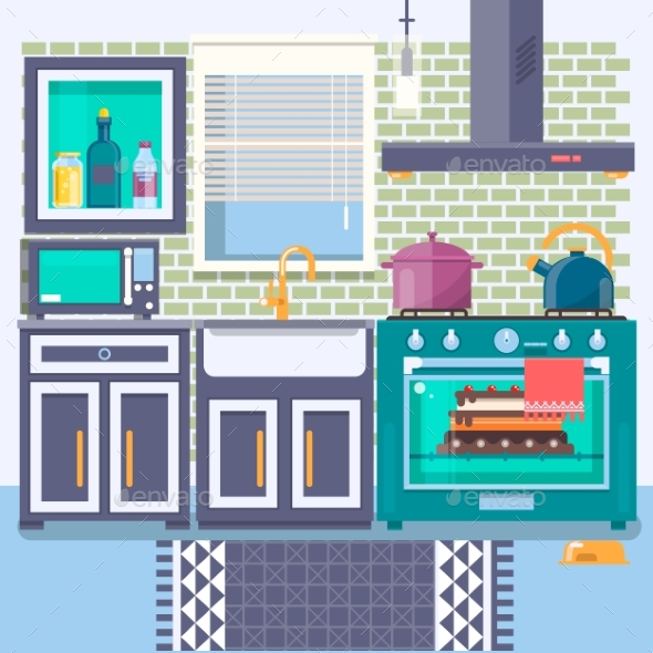 Kitchen with Furniture - Man-made Objects Objects