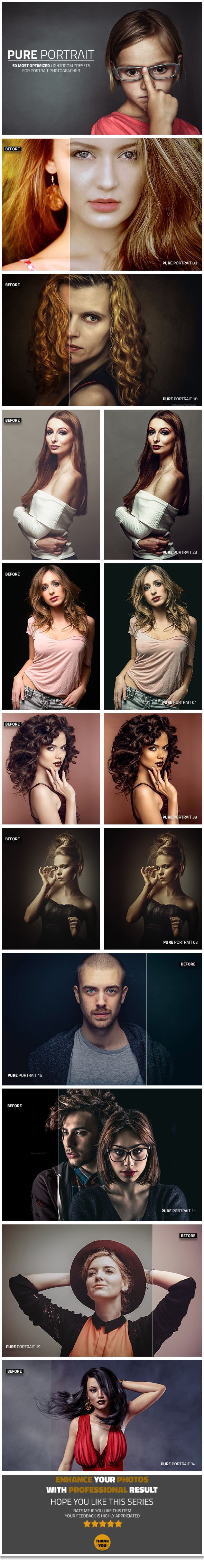 50 Pure Portrait Lightroom Presets - Lightroom Presets Add-ons