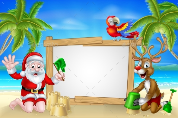 Beach Christmas Santa and Reindeer - Christmas Seasons/Holidays