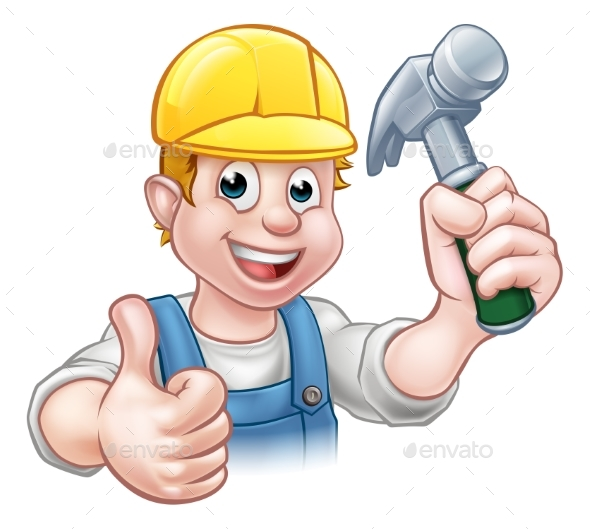 Handyman Carpenter Cartoon Character Holding Hammer - Industries Business