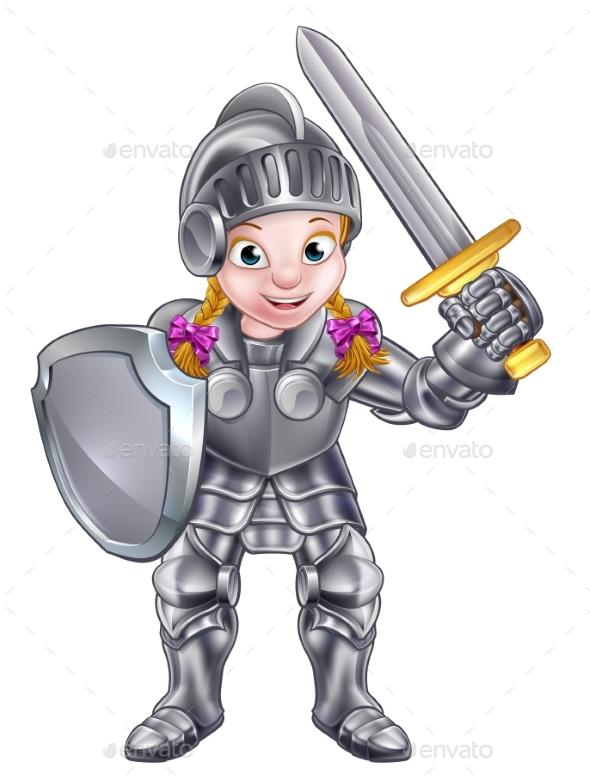 Cartoon Knight Girl - Miscellaneous Vectors