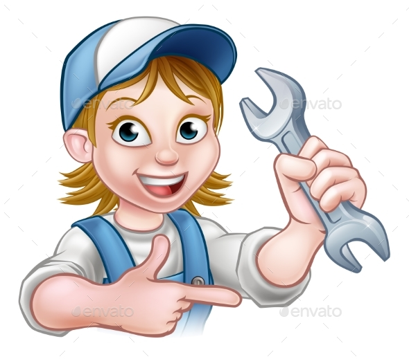 Mechanic or Plumber Woman Cartoon Character - People Characters