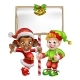 Cartoon Christmas Elves Holding Sign