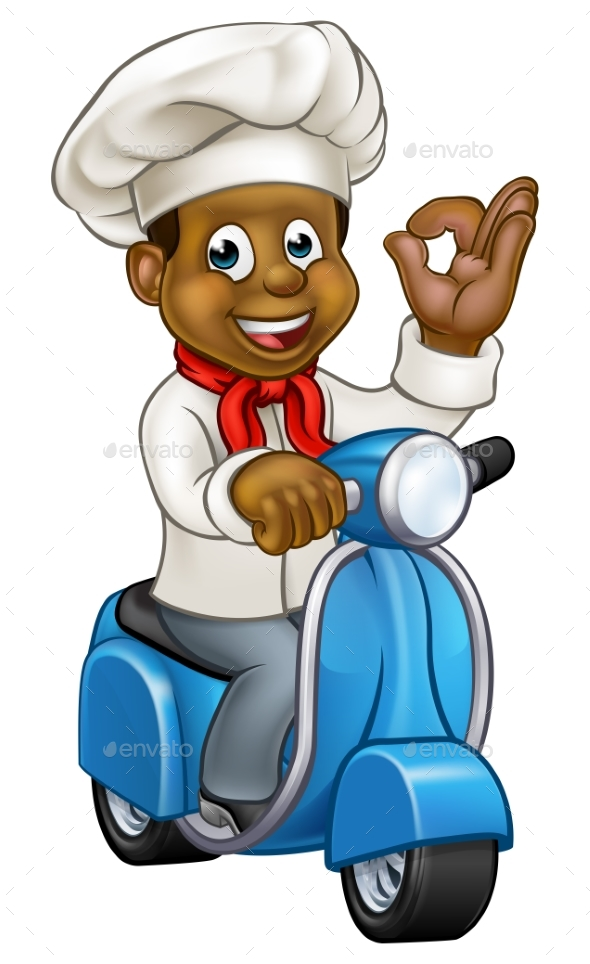 Cartoon Black Delivery Moped Chef - People Characters