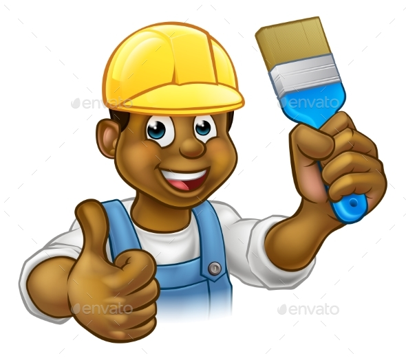 Black Painter Decorator Cartoon Character - Industries Business