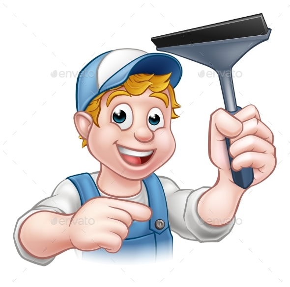 Cartoon Window Cleaner Squeegee Character - People Characters