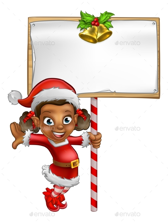 Cartoon Girl Christmas Elf Holding Sign - People Characters