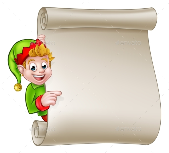 Santa Helper Elf Christmas Scroll - Christmas Seasons/Holidays