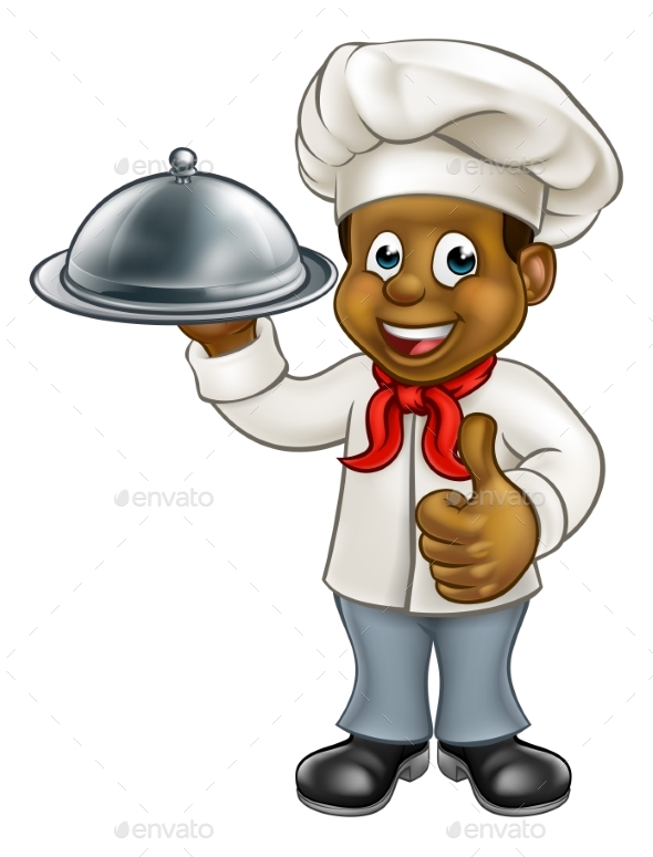 Black Chef Cartoon Character with Platter - People Characters