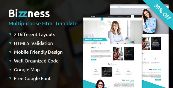 Bizzness – A Business Multipurpose Responsive HTML Template