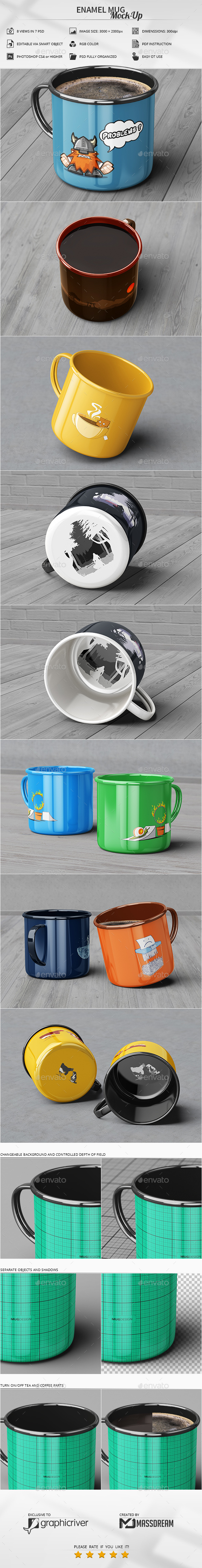 Enamel Mug Mock-Up - Product Mock-Ups Graphics