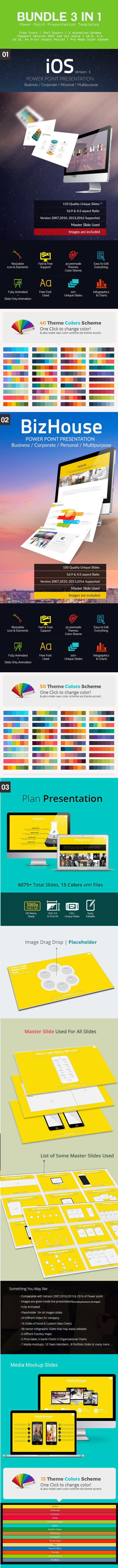 Business Bundle Multipurpose 3 in 1 Presentation - Business PowerPoint Templates