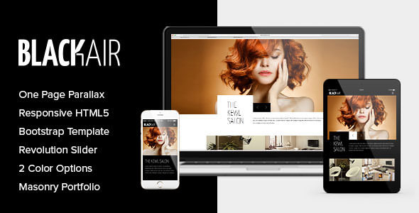 Blackair - One Page HTML5 Template for Hair Salons - Health & Beauty Retail