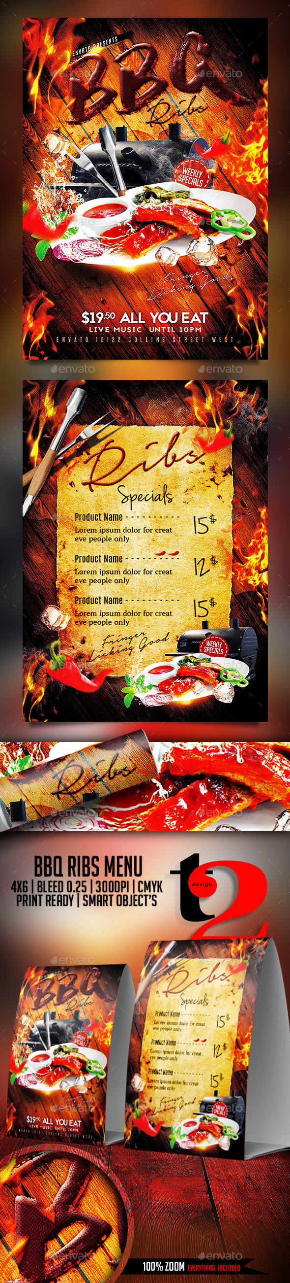 BBQ Ribs Menu Template - Restaurant Flyers