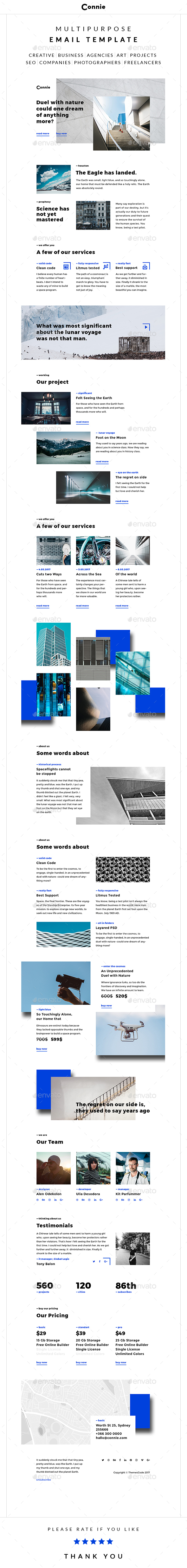 Connie – Multipurpose Email Template - E-newsletters Web Elements