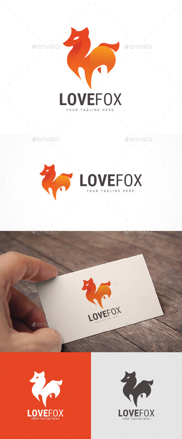 Love Fox Logo - Animals Logo Templates