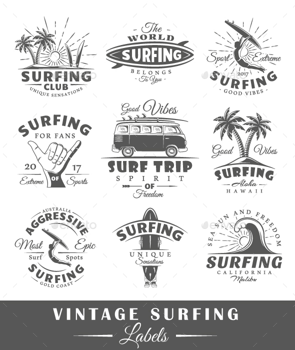 Set of Vintage Surfing Labels - Miscellaneous Vectors
