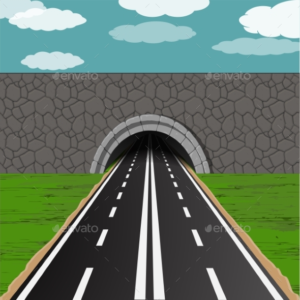 Tunnel with Road Illustration - Miscellaneous Vectors