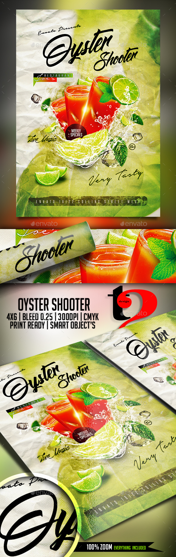 Oyster Shooter Flyer Template - Restaurant Flyers