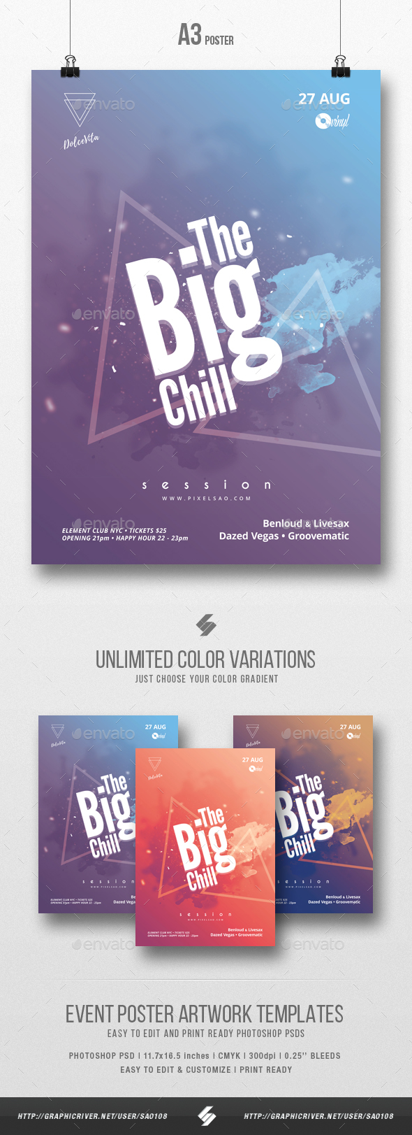 The Big Chill - Minimal Party Flyer / Poster Template A3 - Clubs & Parties Events