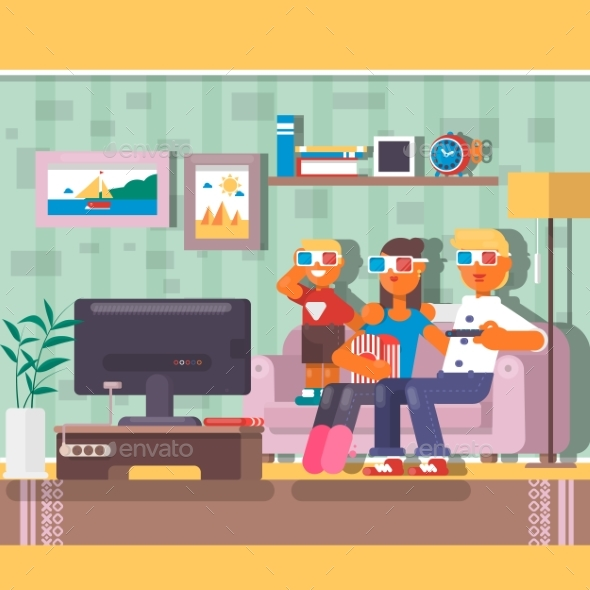 Family Watching Television Together in House - People Characters