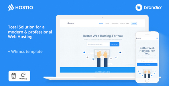 Hostio HTML & WHMCS Web Hosting Template - Hosting Technology