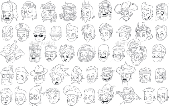 Cartoon Black and White Characters Heads Set - People Characters