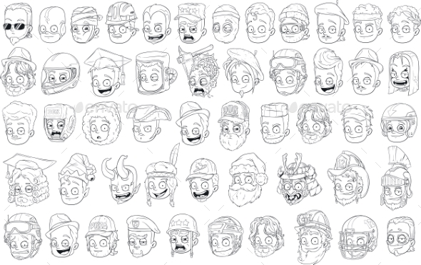 Different Cartoon Black and White Characters - People Characters