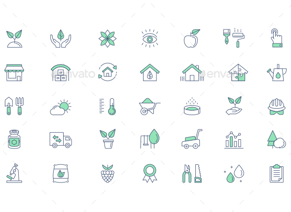 Gardening vector line icon set - Icons