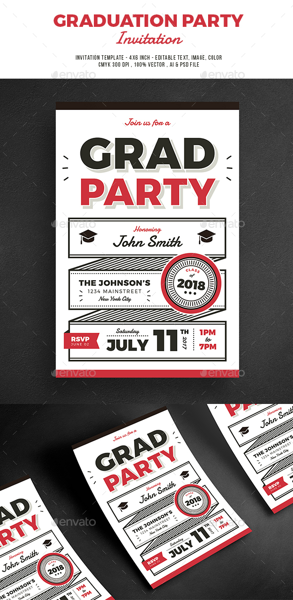 Graduation Party Invitation - Cards & Invites Print Templates