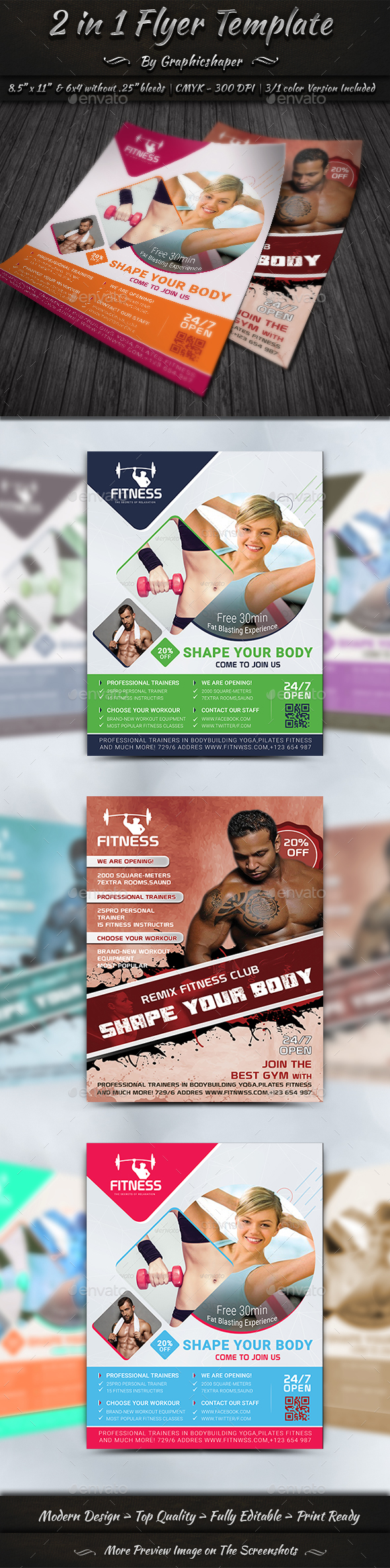 2 in 1 Flyer Template - Flyers Print Templates