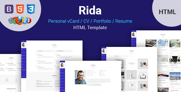 Rida - vCard Responsive Resume / Portfolio HTML Template - Virtual Business Card Personal