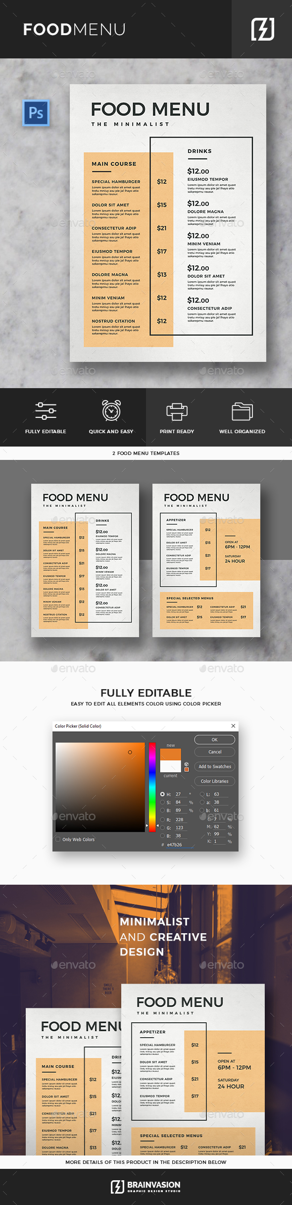 Minimal Food Menu Template - Food Menus Print Templates