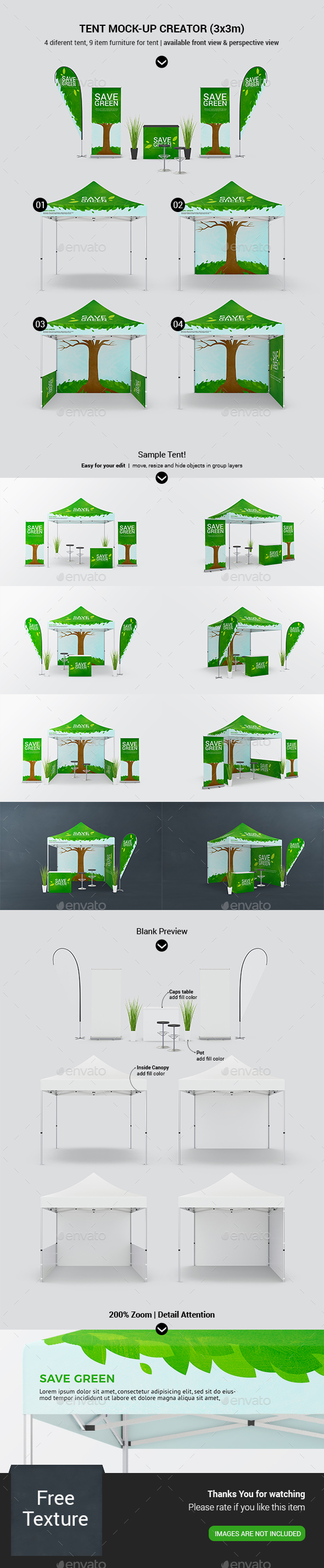 Tent Gazebo / Event Tent Canopy Mockup Vol.1 - Signage Print