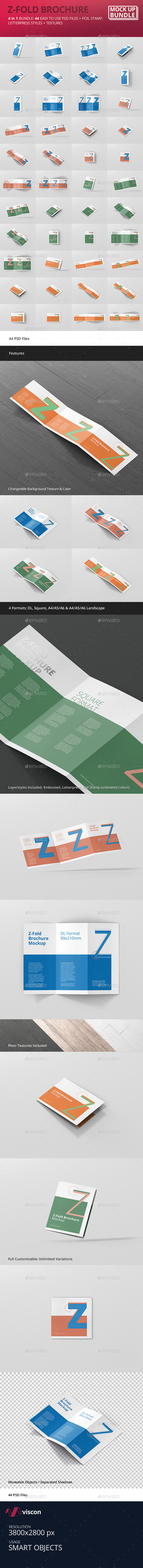 Z-Fold Brochure Mockup Bundle - Brochures Print